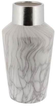 Brimfield & May Contemporary Marbled Ceramic Bottle-Shaped Vase, White and SIlver