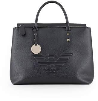 Emporio Armani Large Black Maxi Logo Handbag