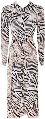 WallisWallis PETITE Pink Zebra Print Shirt Dress
