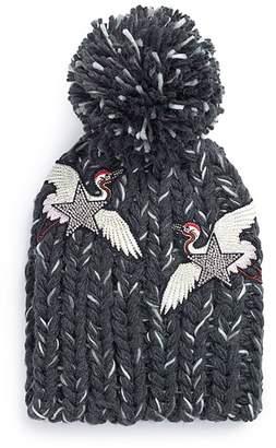 Venna Strass star crane patch pompom rib knit beanie