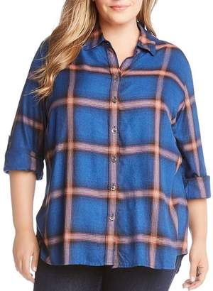 Karen Kane Plus Plaid Roll-Tab-Sleeve Shirt