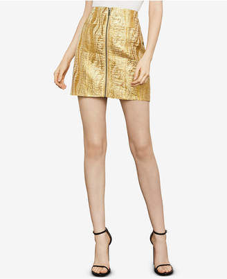 BCBGMAXAZRIA Metallic Zip-Front Mini Skirt