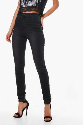 boohoo Tall Washed Black High Waisted 36 Leg Jeans