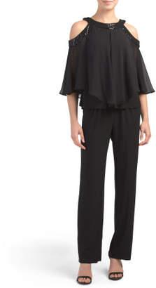 Petite 2pc Embellished Cold Shoulder Pant Set