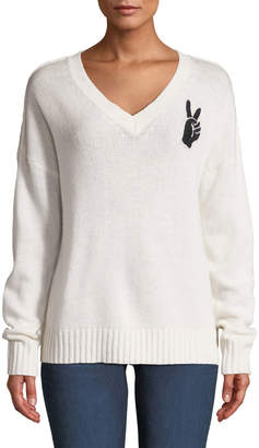 360 Sweater 360sweater Lea Wool-Cashmere Embroidered Peace-Sign V-Neck Sweater