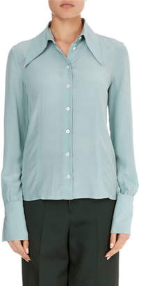 Victoria Beckham Long-Sleeve Silk Pointed-Collar Top