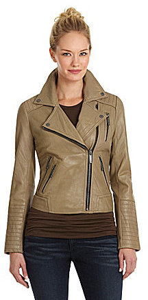 MICHAEL Michael Kors Leather Asymmetrical-Zip Moto Jacket