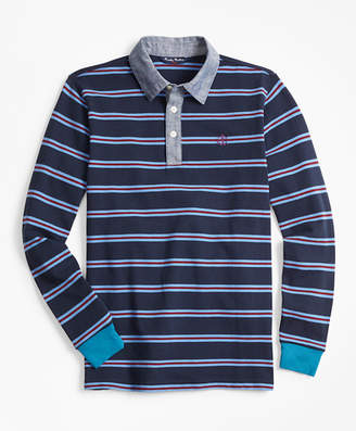 Brooks Brothers Boys Cotton Long-Sleeve Stripe Pique Polo Shirt
