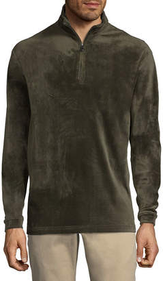 Haggar Mens High Neck Long Sleeve Quarter-Zip Pullover