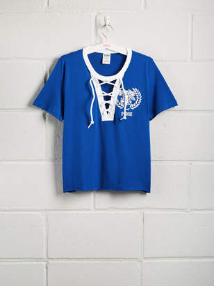PINK University of Kentucky Short Sleeve Perfect Lace-Up Tee