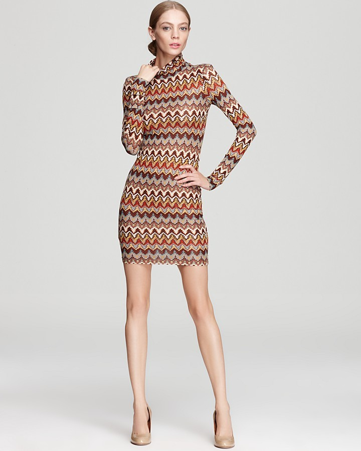 ABS by Allen Schwartz Long Sleeve Dress - Turtleneck Printed