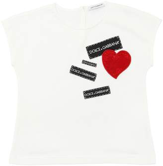 Dolce & Gabbana Heart & Logo Tags Cotton Jersey T-Shirt