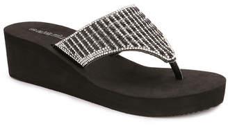 OLIVIA MILLER Miramar Multi Rhinestone Wedge Sandals Women Shoes