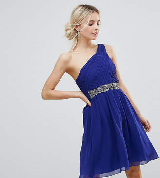 Little Mistress Petite One Shoulder Skater Dress With Embellished Waist Line