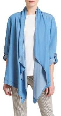 DKNY Chambray Tab-Sleeve Drape Jacket