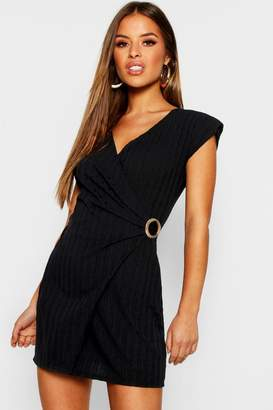 boohoo Petite Knitted Rib Buckle Detail Dress