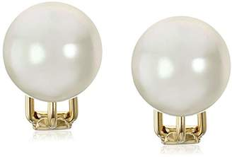Majorica 14mm White Round Simulated Pearl 18k Gold Vermeil Clip-On Earrings