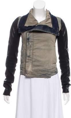 Rick Owens Leather-Trimmed Denim Jacket