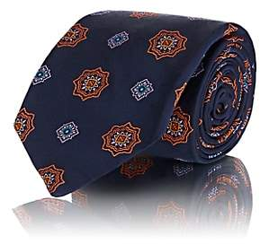 Fairfax MEN'S MEDALLION-PATTERN SILK TWILL NECKTIE-NAVY