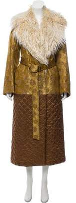 Dries Van Noten Faux Shearling-Trimmed Brocade Coat