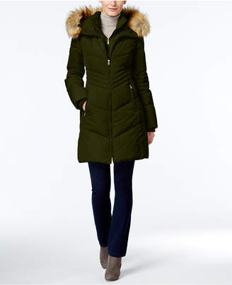 Jones New York Faux-Fur-Trim Hooded Down Puffer Coat $275 thestylecure.com