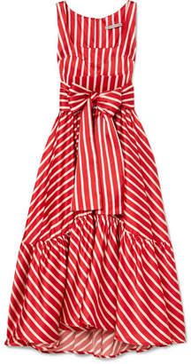 DAY Birger et Mikkelsen Silvia Tcherassi - Samantha Tiered Striped Silk-blend Satin Midi Dress