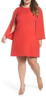 Eliza J Jewel Neck Cape Sleeve Dress