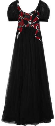 Gucci Embellished Embroidered Tulle Gown - Black