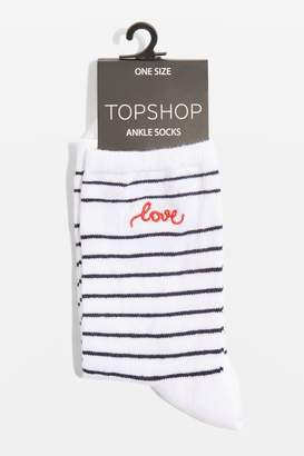 Topshop Embroidered 'Love' Striped Socks