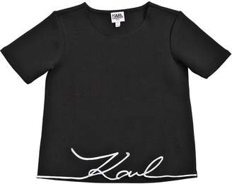 Karl Lagerfeld Logo Embroidered Jersey T-Shirt