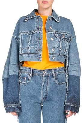 Acne Studios Kremi Two-Tone Cropped Distressed Denim Jacket w/ Raw-Edges