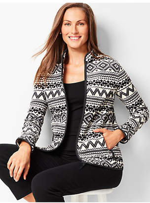 Talbots Geo-Print Fair Isle Polar Fleece Jacket