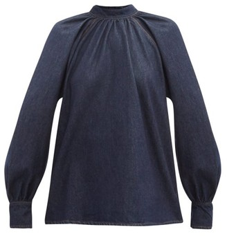 MSGM Tie Back Denim Blouse - Womens - Indigo