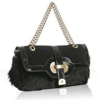 Rafe New York black rabbit 'Lucy' slim shoulder bag