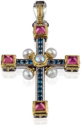 Konstantino Multi-Stone & Pearl Cross Pendant