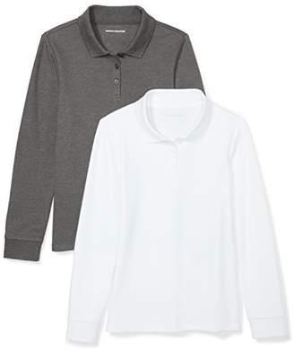 Amazon Essentials Girls' 2-Pack Long-Sleeve Interlock Polo Shirt