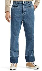 Loewe Men's Frayed-Hem Fisherman Jeans - Blue