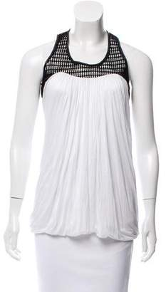 Yigal Azrouel Sleeveless Leather-Trimmed Top w/ Tags