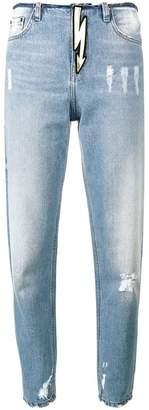 Navro Raw Hem Blue High Waisted Mom Jeans