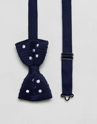 Asos Knitted Polka Dot Bow Tie In Navy