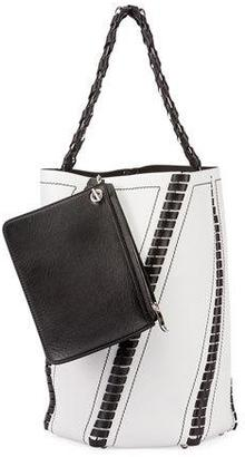 Proenza Schouler Hex Large Whipstitch Leather Bucket Bag, White/Black $1,960 thestylecure.com