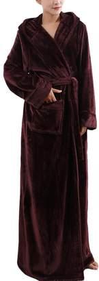 ONAMANO Women Fleece Bathrobe Winter Robe Long Bathrobe