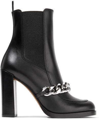 Givenchy - Chain-trimmed Leather Ankle Boots - Black