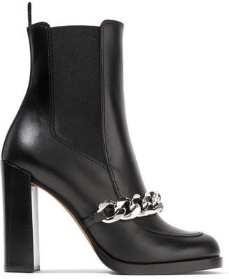 Givenchy Chain-trimmed Leather Ankle Boots - Black