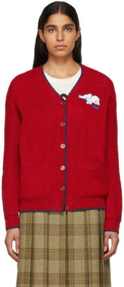 Gucci Red Elephant Patch Cardigan