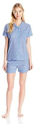 Bottoms Out Women's Short Sleeve Pant Woven Sleep Set