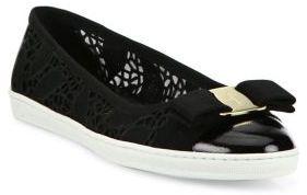 Salvatore Ferragamo Rufina Lace Bow Sneaker Flats $575 thestylecure.com