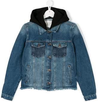 Les Coyotes De Paris Teen back-print hooded denim jacket