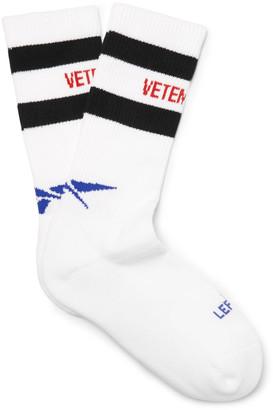 Vetements + Reebok Cotton-Blend Socks $85 thestylecure.com