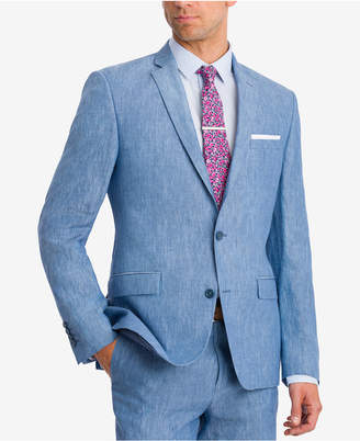 Bar III Men Slim-Fit Blue Chambray Suit Jacket